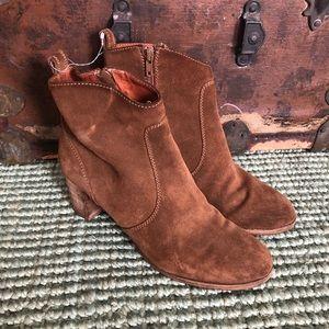 J. Crew size 9 brown suede heeled booties